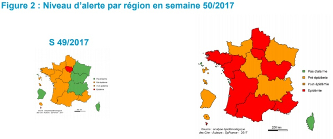 Flu at epidemic levels across many regions of France