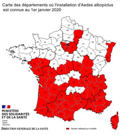 Map of Tiger moustiques in France